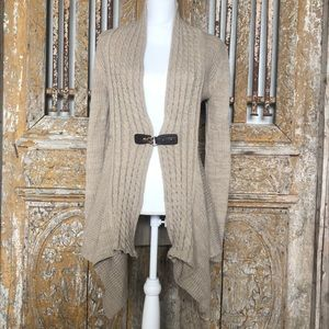 ONE A M  Beige Cardigan Front Belt